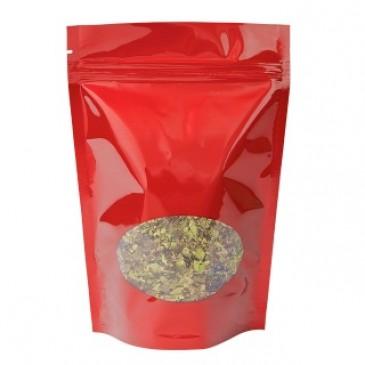 Bolsa Stand-up Rojo ventana oval-160x230+{45+45} mm libre de aluminio